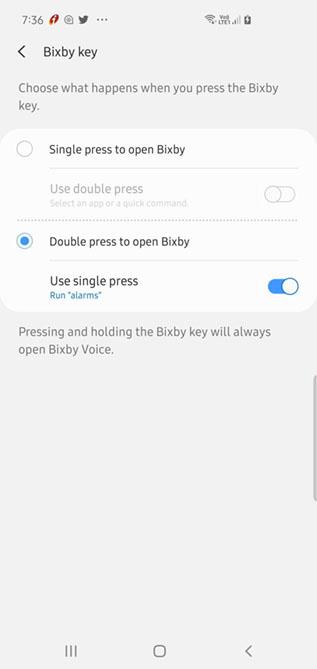 переназначить ключ Биксби