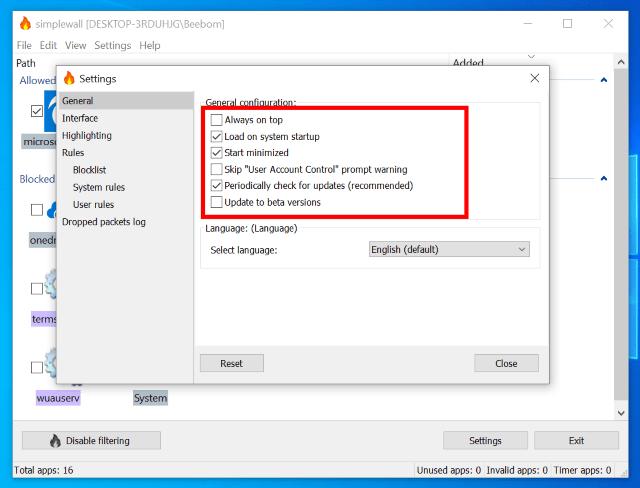 5. Evite las actualizaciones de Windows con SimpleWall