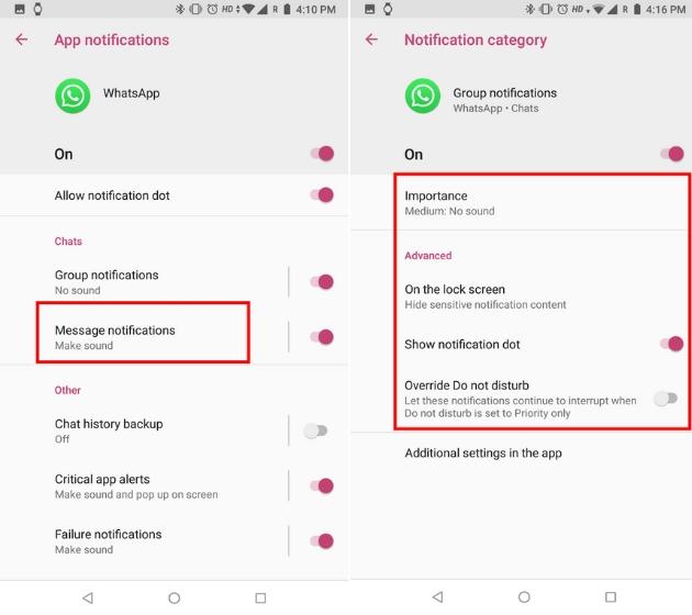 Настройка уведомлений WhatsApp с каналами уведомлений на Android 5