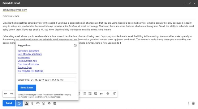 Programador de correo electrónico de Gmail