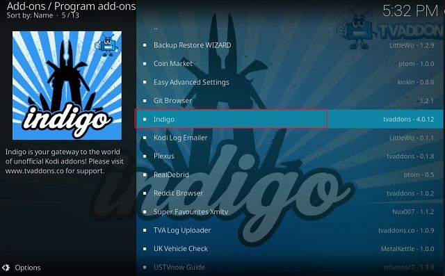 Очистить кэш на Kodi с помощью дополнения Indigo 6
