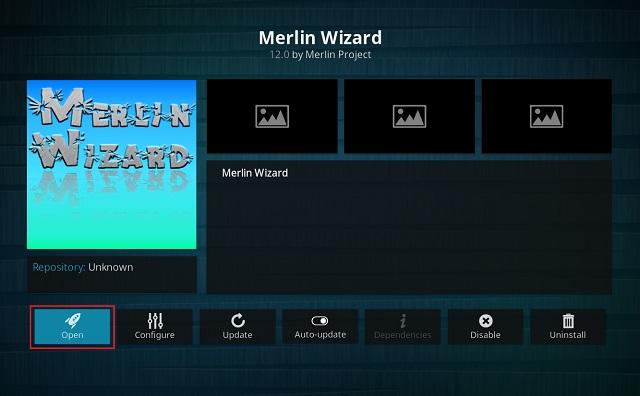 Очистить кэш на Kodi с помощью дополнения Merlin Wizard 11