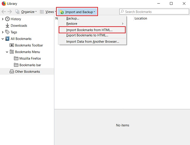 Импортируйте закладки Chrome в Firefox 1