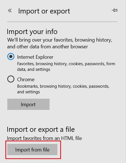 Импорт закладок Chrome в Microsoft Edge 2