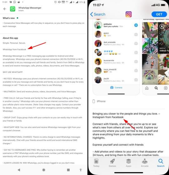 Instagram от Facebook и WhatsApp от брендинга Facebook