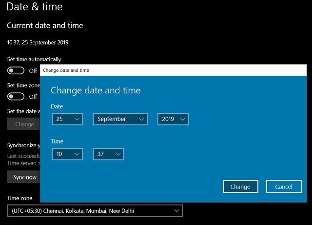 9. Обновить дату, время и регион