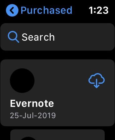 Accede a la lista de aplicaciones compradas en Apple Watch