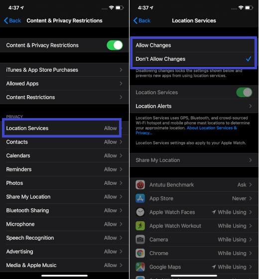 No permitir cambios en la configuración de los servicios de ubicación