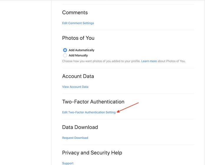 desplácese hacia abajo un poco y haga clic en Editar configuración de autenticación de dos factores.
