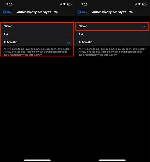 Выберите «Никогда», чтобы не отключать устройство iOS от автоматического подключения к телевизорам с поддержкой AirPlay.