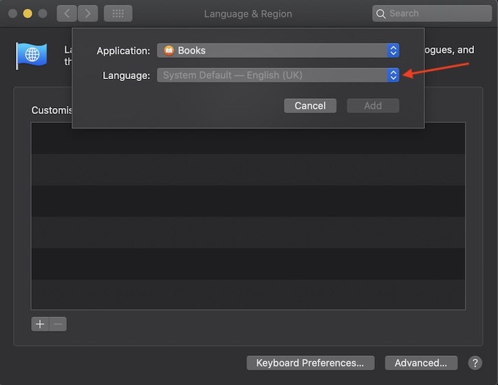 Haga clic en la flecha desplegable antes del idioma