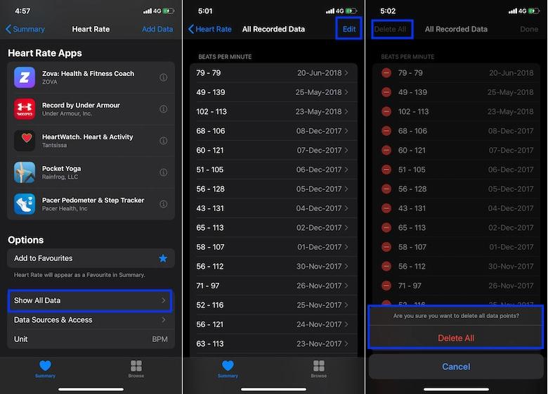 Eliminación de datos de salud individuales del iPhone 2