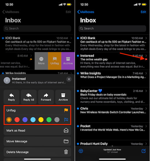 Select different flag color for your email