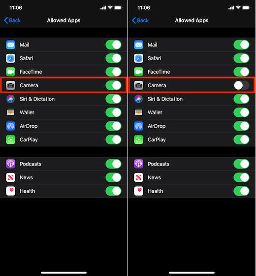 Deshabilitar el acceso a la cámara en la pantalla de bloqueo del iPhone