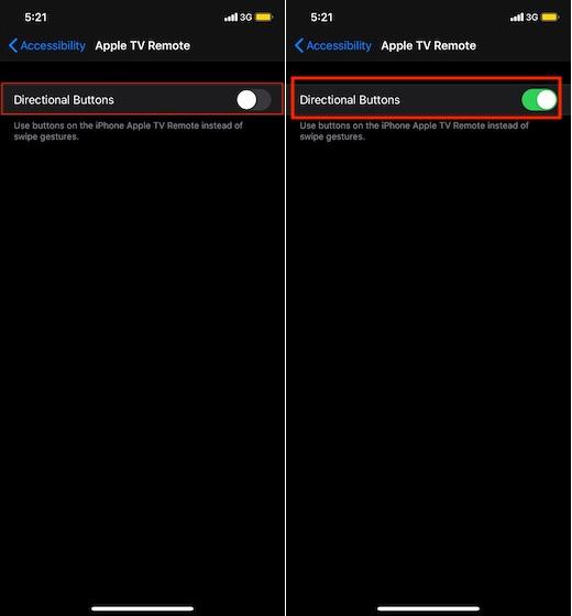 Activar los botones de dirección para el control remoto de Apple TV