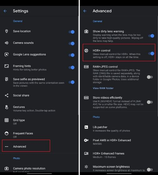 enable hdr control on oneplus 7 gcam