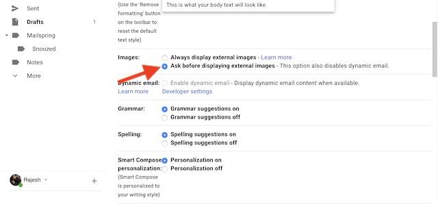 Wählen Sie Fragen, bevor Sie externe Bilder in Google Mail für das Web anzeigen