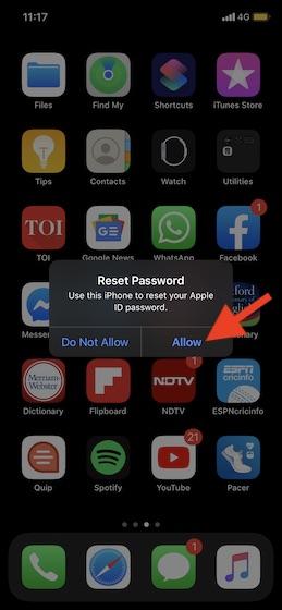 Нажмите Разрешить, чтобы сбросить пароль Apple ID