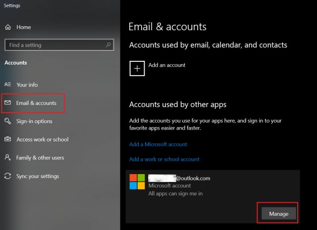 удалить учетную запись Microsoft