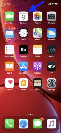 Запустите приложение «Календарь» на iPhone или iPad