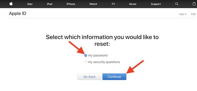 Выберите опцию Мой пароль