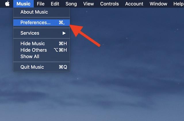 Seleccione Preferencias en el menú Música