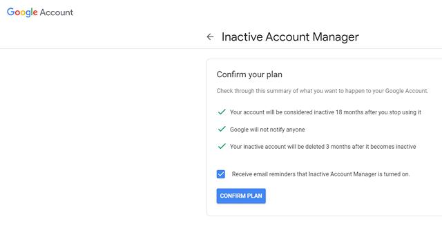 Автоматическое удаление неактивной учетной записи Google
