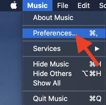 Haga clic en Preferencias en el menú Música