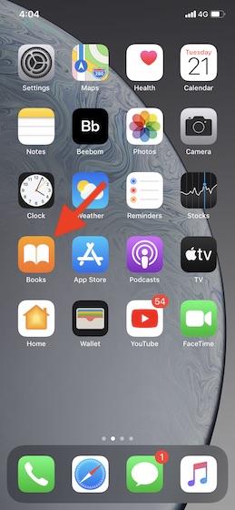Abra la aplicación Books en su iPhone