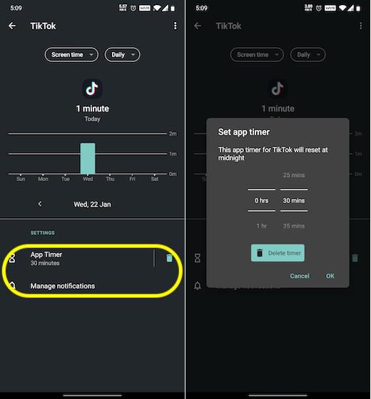 Establecer límite de tiempo para TikTok en Android