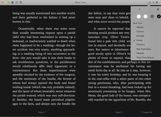 El tema oscuro dentro de la aplicación Apple Books