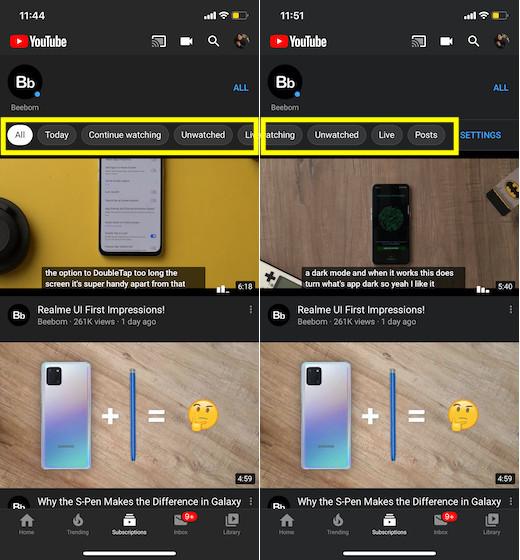 Feed de suscripciones de YouTube