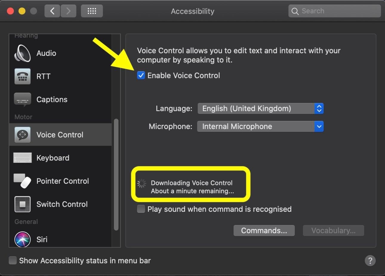 Habilitar el control por voz en macOS