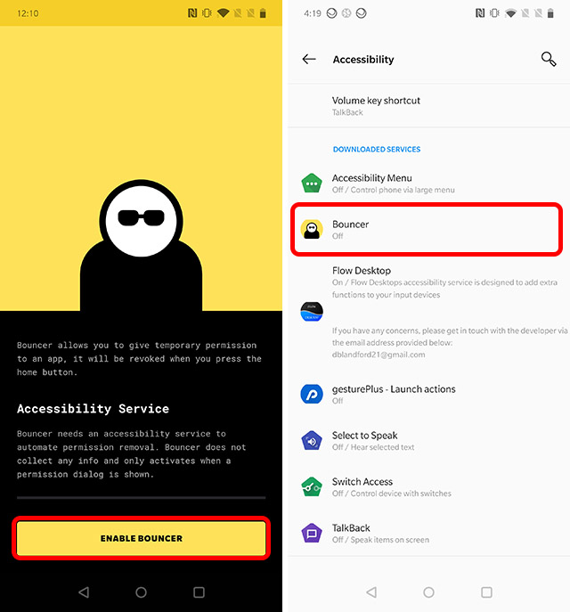 enable bouncer to get android 11 one time permissions feature