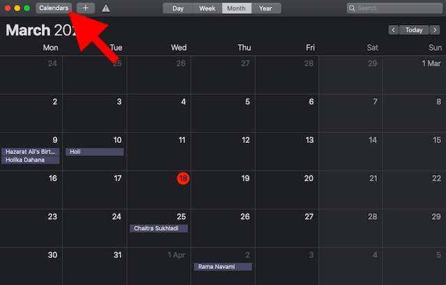 Click on Calendar button