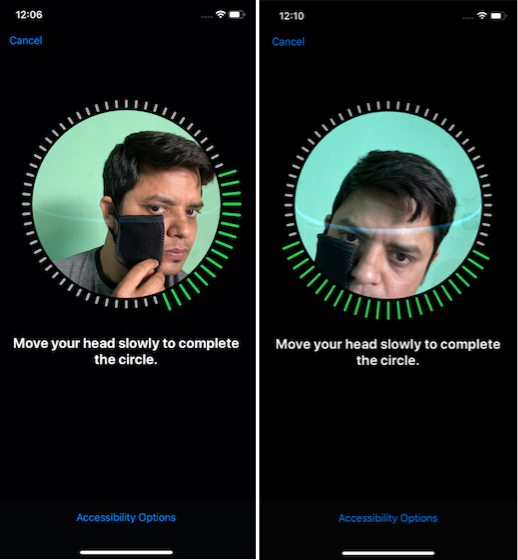 setting up face ID using mask