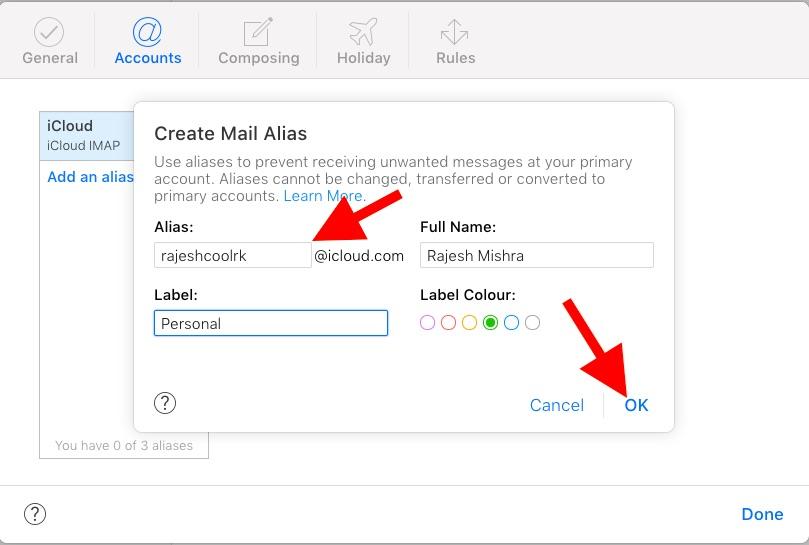 Create iCloud Mail alias