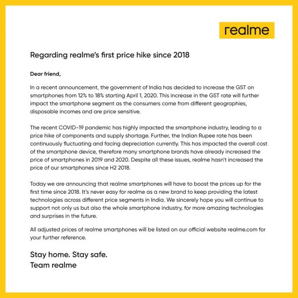 realme letter on smartphone price hike india