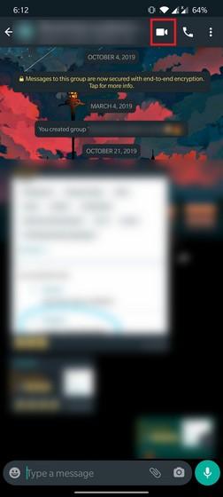 whatsapp video call button