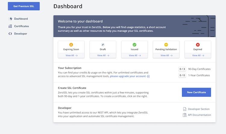 ZeroSSL - Генерация SSL-сертификата 1