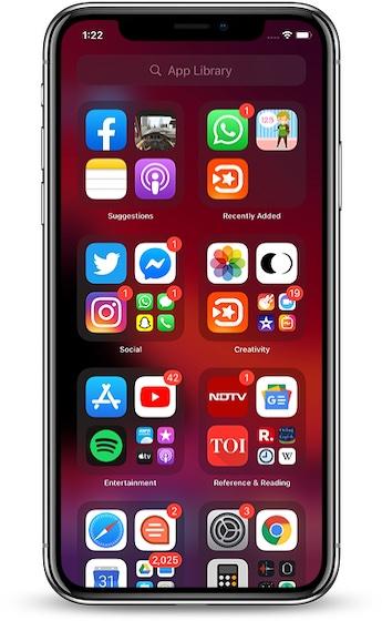 Biblioteca de aplicaciones en iOS 14