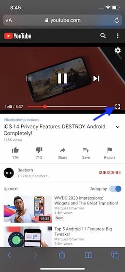 Toque el botón de pantalla completa