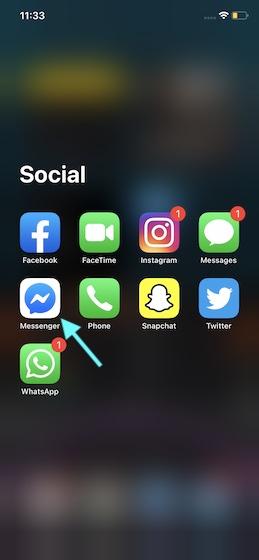 Откройте Facebook Messenger на вашем устройстве
