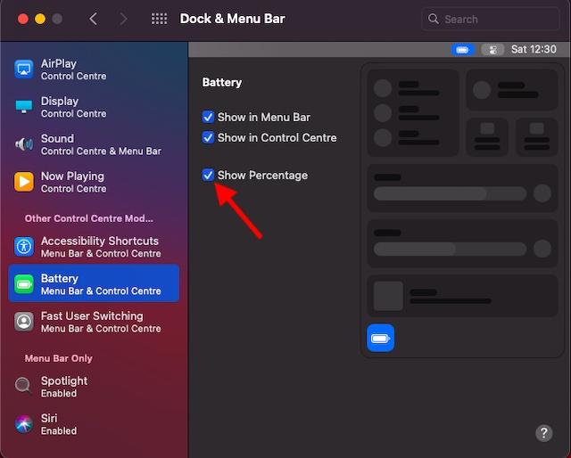 Показывает процент заряда батареи в macOS Big Sur