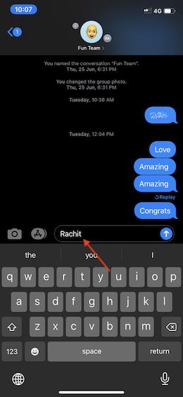 Используйте упоминание в iOS 14
