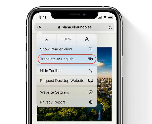 перевод веб-страницы в Safari 2