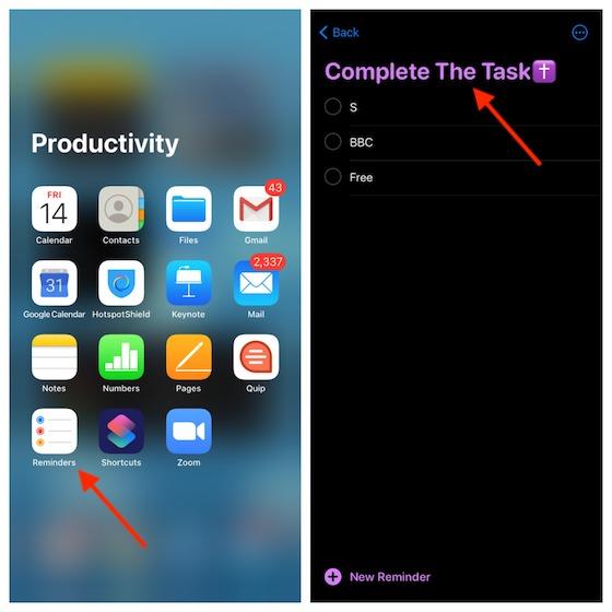 Abra la aplicación Recordatorios en su iPhone