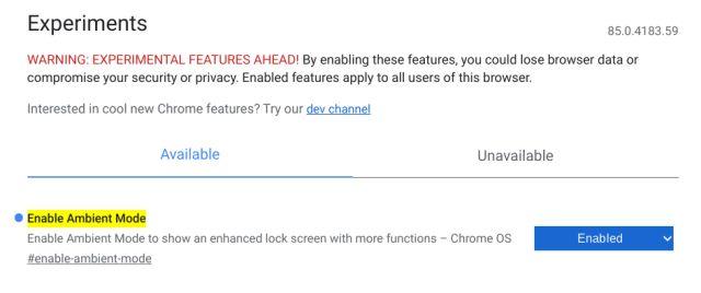 Включить режим окружающей среды (заставку) в Chrome OS
