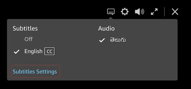 2. Базовые настройки субтитров на Amazon Prime Video
