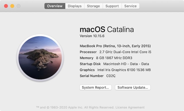Проверьте конфигурацию ЦП Mac 2